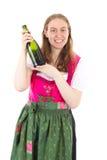 Kobieta przedstawia nowego wino zdjęcie royalty free