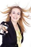 Kobieta przedstawiająca z telefonem komórkowym Obraz Royalty Free