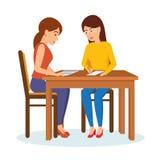 Kobieta przeprowadza wywiad pracodawcy z potencjalnym pracownikiem, komunikuje, wymienia, informację ilustracja wektor