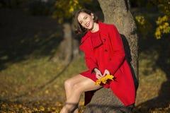 Kobieta przy jesień parka chwytem niektóre opuszcza Zdjęcie Stock