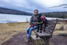 Kobieta przy jeziorem z zwierzę domowe psem w zimie zdjęcie royalty free