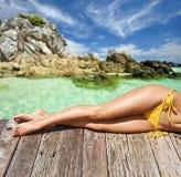 Kobieta Przy Plażą Obraz Royalty Free