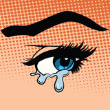 Kobieta przygląda się łez płakać ilustracja wektor