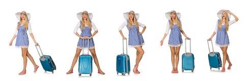 Kobieta przygotowywająca dla lato podróży odizolowywającej na bielu Obrazy Stock