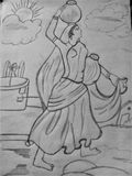 Kobieta przynosi wodę ilustracji