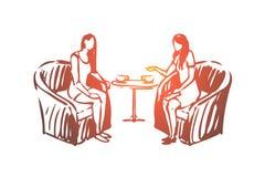Kobieta, psycholog, konsultacja, słuchanie, fachowy pojęcie Ręka rysujący odosobniony wektor ilustracja wektor