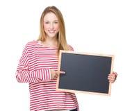 Kobieta punkt chalkboard Zdjęcia Stock