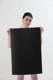 kobieta pustej karty gospodarstwa Zdjęcia Stock