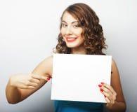 kobieta pustej karty gospodarstwa Obraz Royalty Free