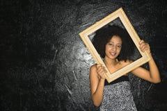 kobieta ramowego gospodarstwa Zdjęcie Royalty Free