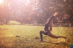 Kobieta ranku ćwiczy medytacja w naturze Zdjęcie Royalty Free