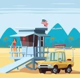 Kobieta ratownik na obowiązku z ciężarówką w Los Angeles plaży ilustracji