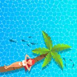 Kobieta relaksuje i cieszy się na kokosowym drzewie przy morzem Zdjęcie Royalty Free
