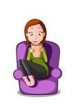Kobieta relaksuje z filiżanką gorąca czekolada Obraz Stock