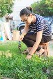 Kobieta relaksuje z ogrodnictwa flancowania use dla ludzi domowego activiti Obraz Stock