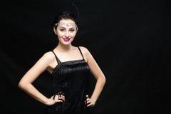 Kobieta retro Portret Rocznik Stylowa dziewczyna Jest ubranym Staromodnego kapelusz i rękawiczki Zdjęcia Royalty Free