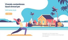Kobieta robi joga ćwiczeniom nad plażowej willa domu tropikalnej wyspy postać z kreskówki sprawności fizycznej żeńskimi aktywność ilustracji