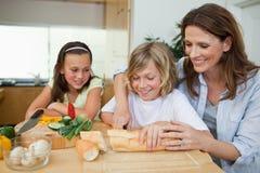 Kobieta robi kanapkom z jej dziećmi Obrazy Stock