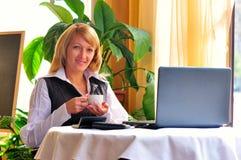 Kobieta robi laptopowi w laptopie Zdjęcia Royalty Free