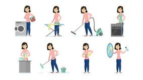 Kobieta robi obowiązek domowy ilustracja wektor