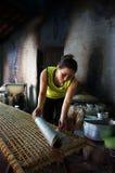 Kobieta robi podpasanie tortowi .BA RIA, WIETNAM LUTY 2 (banh trang) fotografia stock