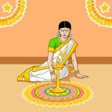 Kobieta robi rangoli dla Indiańskiego festiwalu ilustracja wektor