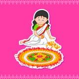 Kobieta robi rangoli dla Indiańskiego festiwalu, Onam ilustracja wektor