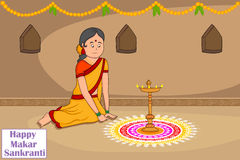 Kobieta robi rangoli dla Makar Sankranti ilustracja wektor