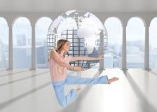 Kobieta robi taniec pozie Zdjęcia Stock