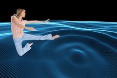 Kobieta robi taniec pozie Zdjęcie Royalty Free