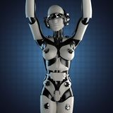 Kobieta robot stal i biały klingeryt Obrazy Stock