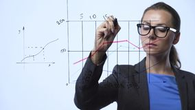 Kobieta rysuje różnorodne wzrostowe mapy, kalkulatorskie perspektywy dla sukcesu w nowożytnym szklanym biurze zdjęcie wideo