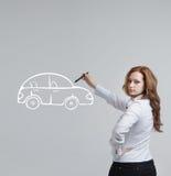 Kobieta rysunkowy samochód, pojęcie na temat Zdjęcie Royalty Free