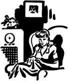 Kobieta Słucha program radiowy Obraz Stock