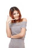 Kobieta seansu kontakt my, dzwoni my, faq, helpline usługowa linia Fotografia Stock