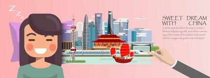 Kobieta sen Słodki sen z Szanghaj podróży pojęciem Chiny inf ilustracji