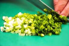 Kobieta sieka zieloną cebulę Zdjęcia Stock