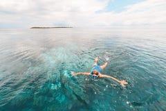 Kobieta snorkeling na rafy koralowej tropikalnym morzu karaibskim, turkusowa błękitne wody Indonezja Wakatobi archipelag, morski  zdjęcie royalty free