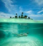 Kobieta snorkeling w tropikalnej lagunie Fotografia Royalty Free