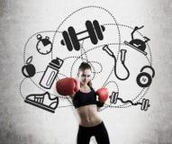 Kobieta sporta i boksera ikony Zdjęcie Royalty Free