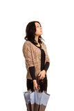 Kobieta sprawdza pogodę Zdjęcie Stock