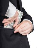 Kobieta stawia pieniądze w twój kieszeni Obraz Stock