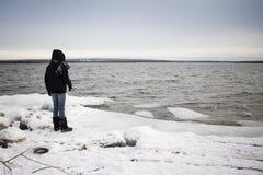 Kobieta stoi samotnie na śniegu zakrywał jeziornego brzeg w zimnej zimy pogodzie fotografia royalty free
