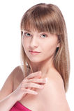 Kobieta stosować moisturizer śmietankę na twarzy Fotografia Stock