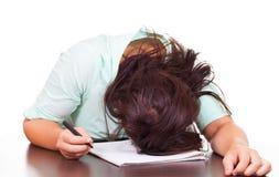 Kobieta stresuje się przy pracą Zdjęcie Royalty Free
