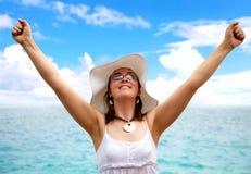 kobieta sukcesu plażowa Obrazy Stock