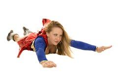 Kobieta super bohatera latania spojrzenia strona Zdjęcia Stock