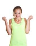 Kobieta szczęśliwy kosztujący sukces Zdjęcia Stock