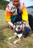 Kobieta szczotkuje jej psa w wiosen łąkach uśmiecha się Obrazy Stock