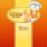 Kobieta sztandaru wysokiej jakości kuchnia Ilustracji
